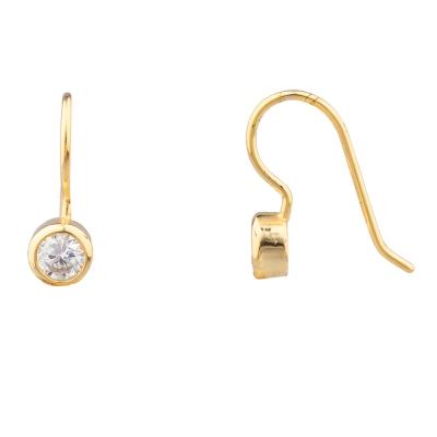 SHASHI 紐約品牌 Solitaire 圓形單鑽耳環 小垂墜式 925純銀鑲18K金