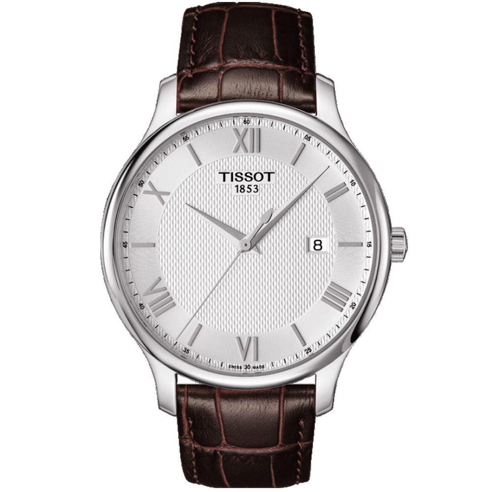 TISSOT Tradition 經典系列羅馬紳士腕錶-銀白/42mm