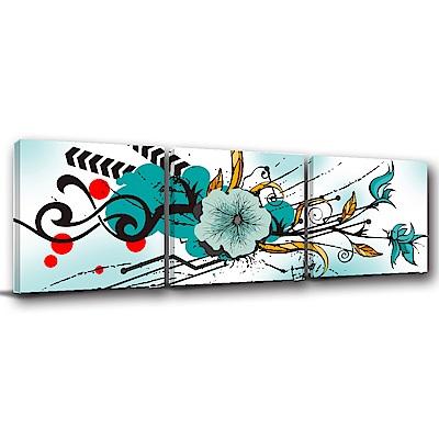 美學365-三聯式方型 掛畫無框畫 如河水清澈 40x40cm
