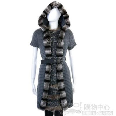 YES LONDON 深灰色毛草飾邊針織連帽外套(附腰帶)