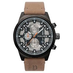 POLICE 時空戰區三眼腕錶-棕褐色x槍色/48mm