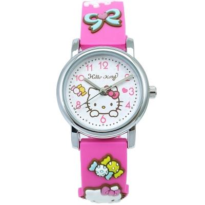HELLO KITTY 凱蒂貓甜美可愛立體造型手錶-粉X桃紅/27mm