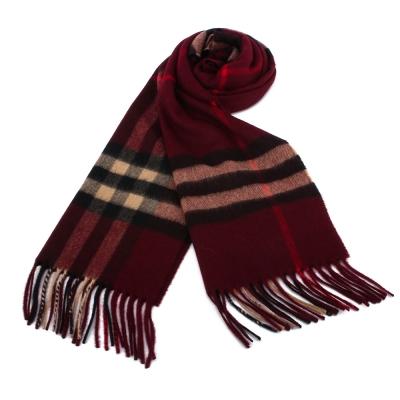 BURBERRY 經典格紋100% 喀什米爾羊毛圍巾-櫻桃紅