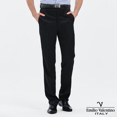 Emilio Valentino 范倫提諾彈力紋理平面西褲-黑