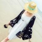 中大尺碼 民族風波西米亞刺繡寬袖蕾絲拼接罩衫麻紗外套-La Belleza