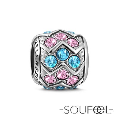 SOUFEEL索菲爾 925純銀珠飾 健康石(粉藍) 串珠