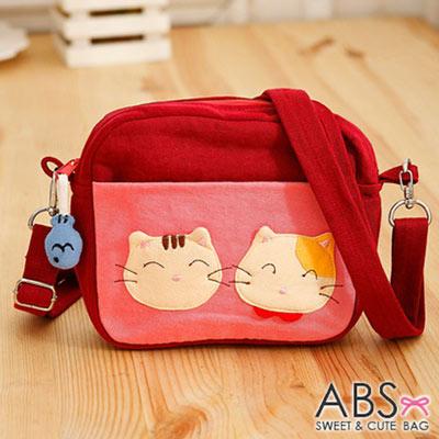 ABS貝斯貓 - SIMPLE STYLE微笑貓咪拼布 小型側背包88-181 - 鮮紅