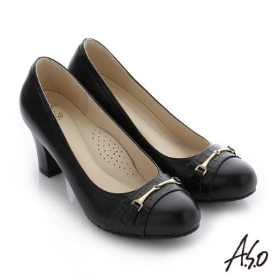 A.S.O 減壓美型 真皮飾釦奈米窩心粗跟鞋 黑色