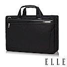 ELLE HOMME 第二代輕量尼龍 x 皮革雙拉鍊(可加大)15吋公事包-黑 EL74166B