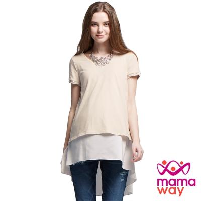 孕婦裝 哺乳衣 拐花圓領造型雪紡上衣(共二色) Mamaway