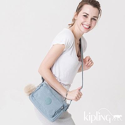 Kipling 斜背包 紋路質感淺藍-小