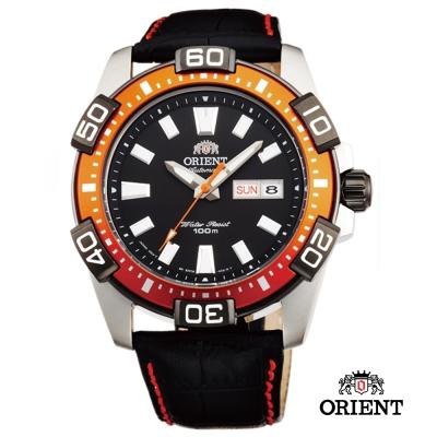 ORIENT 東方錶 WATER RESISTANT Marine機械錶-橘/45.5mm