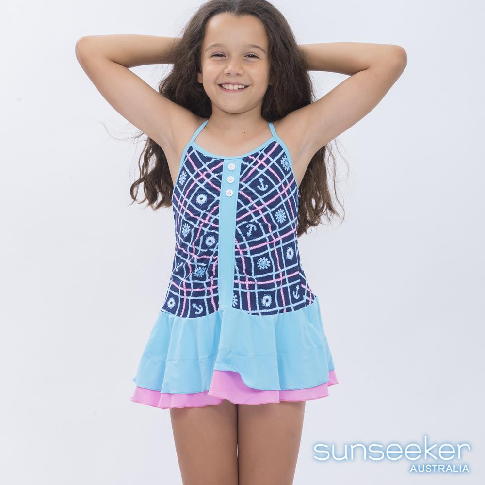 澳洲Sunseeker泳裝抗UV防曬連身泳衣洋裝-大女童海軍藍