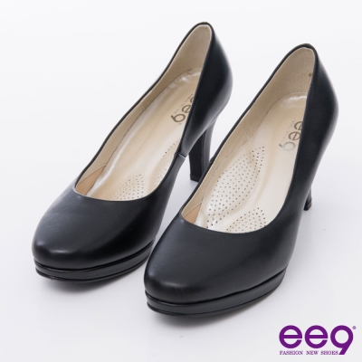 ee9 心滿益足~通勤私藏全真軟皮MIT素面防水台高跟鞋*黑色
