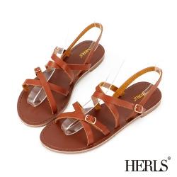 HERLS 夏日純色 日雜女孩細帶涼鞋-棕色