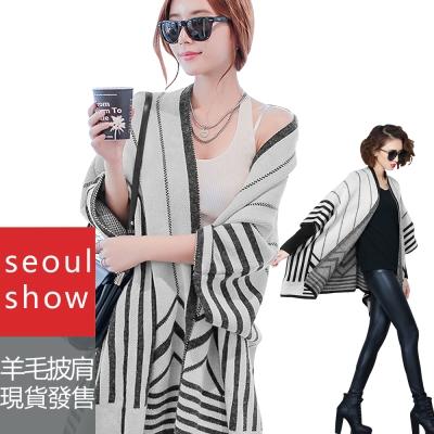 Seoul Show 幾何線條羊毛針織蝙蝠袖外套斗篷披肩毛衣