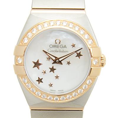 OMEGA 歐米茄 星座系列玫瑰金星星面盤珍珠貝母腕錶- 24 mm
