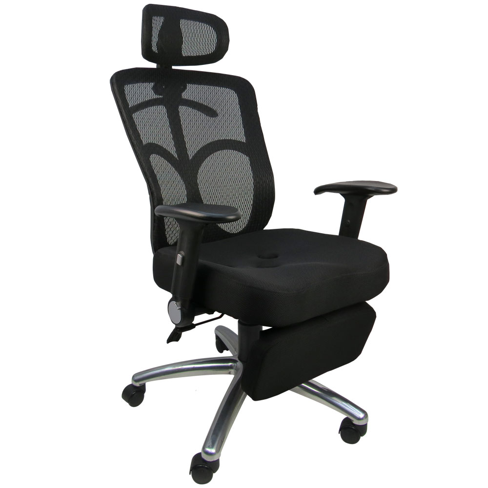 LOGIS-紳士3D工學坐臥兩用置腳台全網辦公椅/電腦椅