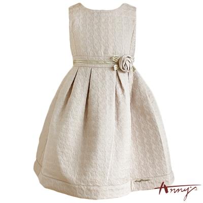 Anny高質壓紋圓領花朵洋裝*4222卡其