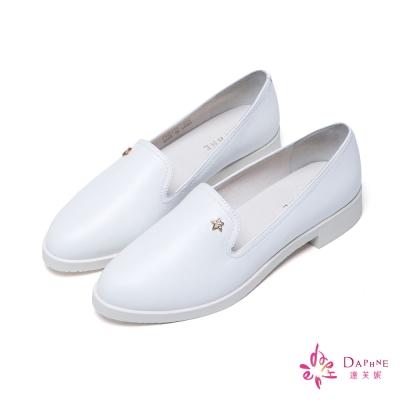 達芙妮DAPHNE 春日遊記星星飾釦軟牛皮質感樂福鞋-悠閒白