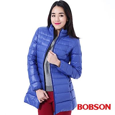 BOBSON-女款輕量羽絨藍色長版外套