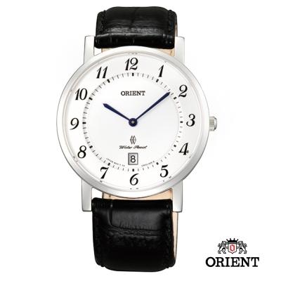 ORIENT 東方錶 SLIM系列 超薄優雅阿拉伯數字藍寶石鏡面石英錶-白色/38mm