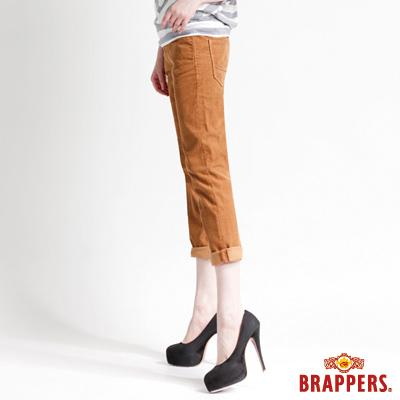 BRAPPERS BoyFriendJeans系列-女款3D八分條絨反摺褲-土黃