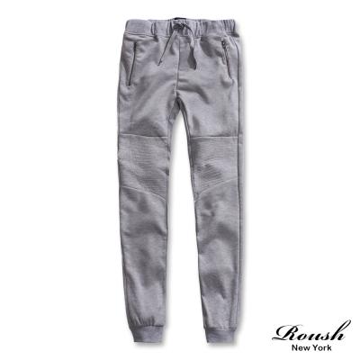 ROUSH-剪接設計拉鍊口袋造型棉質縮口長褲-3色