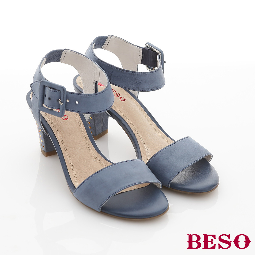 BESO簡約時尚-全真皮素面水鑽包跟高跟涼鞋-藍