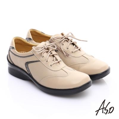 A.S.O 3E寬楦 全真皮金箔壓紋綁帶奈米休閒鞋 卡其