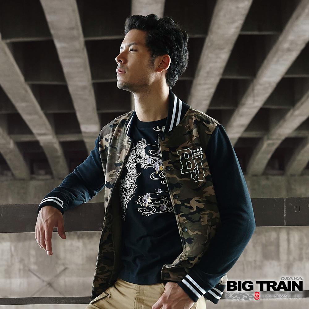 BIG TRAIN 迷彩棒球外套-男-綠色迷彩