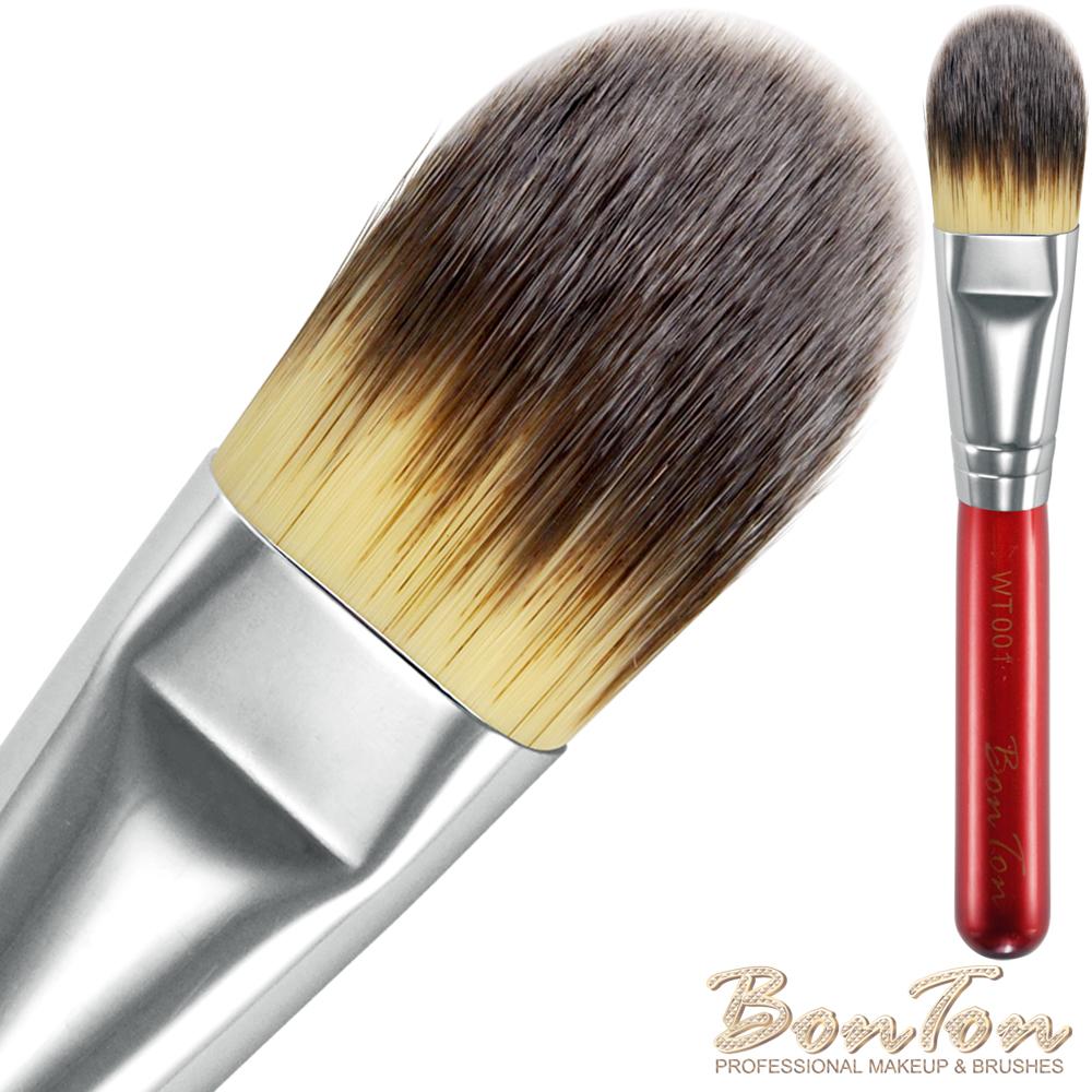 BonTon 湛紅短柄 扁粉底刷(中) WT001 三色纖維直毛
