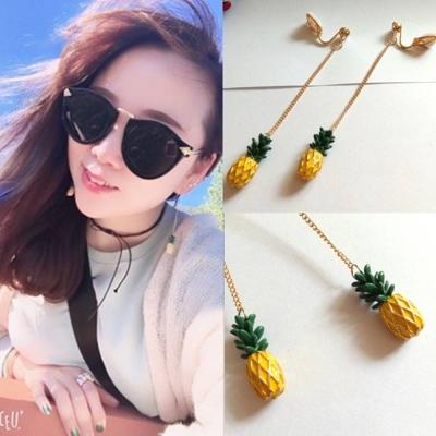 梨花HaNA 無耳洞盛夏的水果派對鳳梨耳線耳環夾式