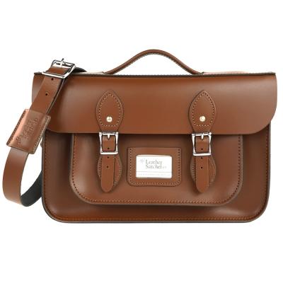 The Leather Satchel 英國手工牛皮劍橋包 肩背後背包 栗木棕 14吋