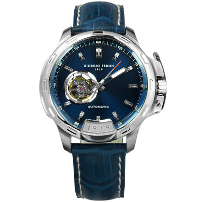 GIORGIO FEDON 1919 自動手動上鍊真皮機械錶-藍色/46mm