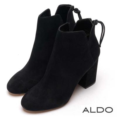 ALDO 原色真皮V字切口拉鏈粗跟短靴~天鵝絨黑