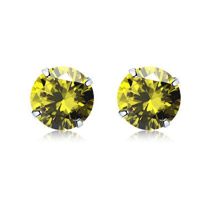 ACUBY 925純銀驚彩鋯石單鑽耳環/4mm橄欖綠