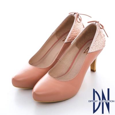 DN-夢幻逸品-MIT素面牛皮拼接水鑽蝴蝶結跟鞋