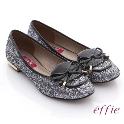 effie 金屬裝飾 金蔥亮片鏡面牛皮細緻平底鞋 銀