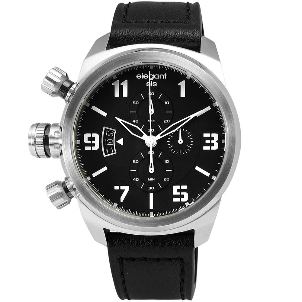 elegantsis 完美狙擊硬派軍事風皮革腕錶-黑x銀/42mm