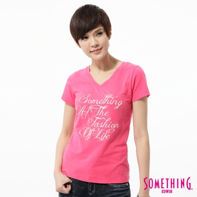 SOMETHING-立體印花V領T恤-女-玫瑰紅