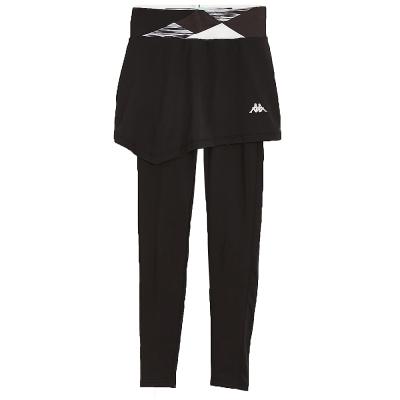 KAPPA義大利 時尚女吸濕排汗KOOL DRY 韻律褲(假二件式)~黑 雲彩條紋