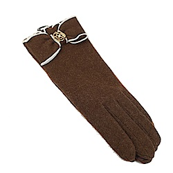 CLATHAS 安哥拉混羊毛山茶花LOGO觸控手套(咖啡色)