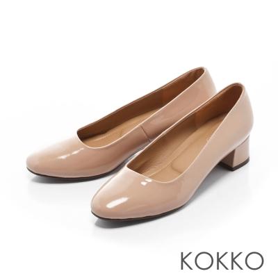 KOKKO-復古美學方頭真皮粗跟鞋-甜心粉