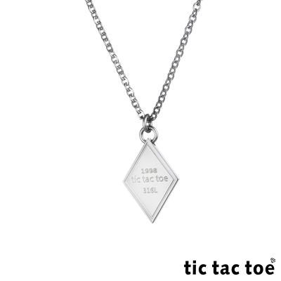tic tac toe 白鋼男項鍊-菱形牌