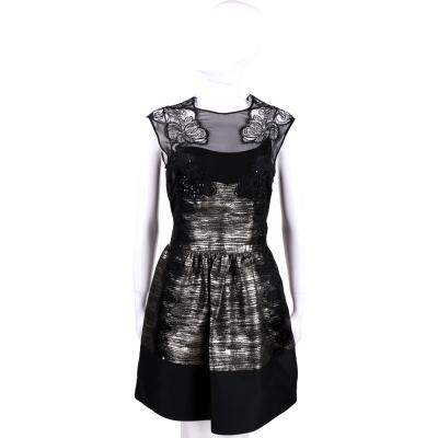 ALBERTA FERRETTI 黑色蕾絲金蔥拼接無袖洋裝
