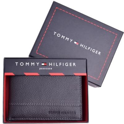 TOMMY 品牌壓印LOGO皮革短夾-黑(附原廠禮盒)