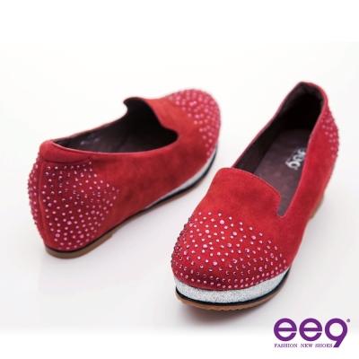 ee9 夾心派~奢華水鑽點綴內增高麂皮樂福鞋~紅色