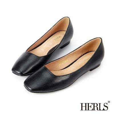 HERLS 內真皮 神秘銀河金屬感平底鞋-黑色