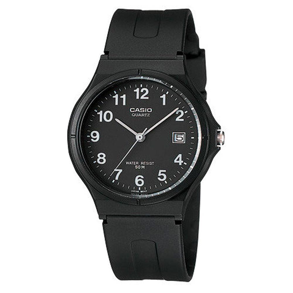 CASIO 超輕薄感時尚指針錶(MW-59-1B)-黑底白字